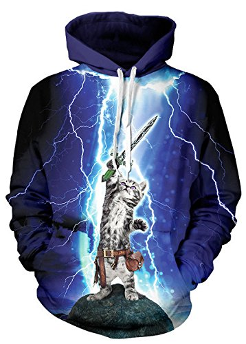 NEWCOSPLAY Unisex Realistic 3D Digital Print Pullover Hoodie Hooded Sweatshirt (XXL/XXXL, Lightning cat (1 Adult Hooded Sweatshirt)