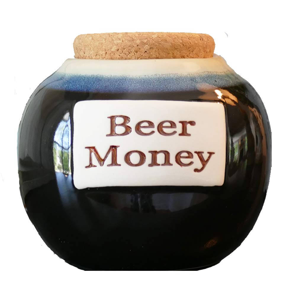 Tumbleweed Beer Money Funny Money Bank; Ceramic Jar With Cork Lid, Coin Bank By