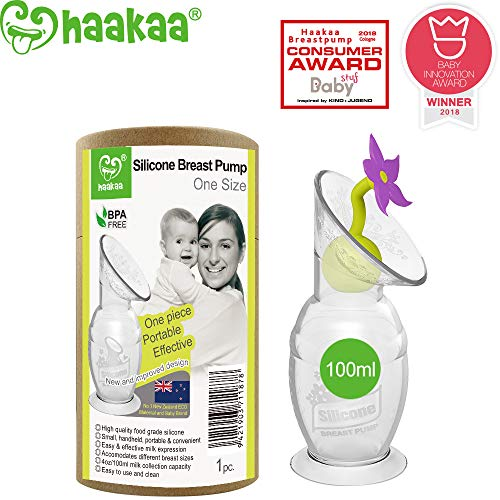 Haakaa Manual Breast Pump Silicone Breastpump Milk Pump for Breastfeeding with Suction Base and Flower Stopper 100% Food Grade Silicone BPA Free (4oz/100ml) (Purple)