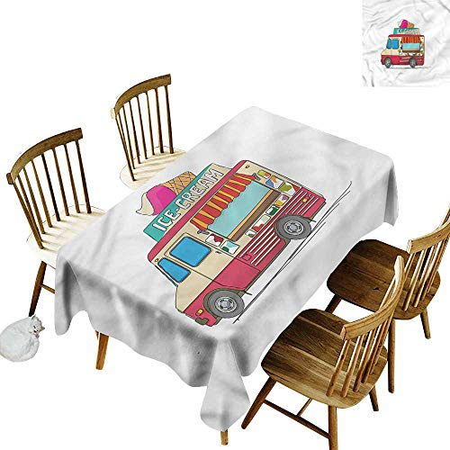 (TimBeve Washable Tablecloth Truck Ice Cream Cartoon Style It's Good to be Home Gorgeous High End Quality 52