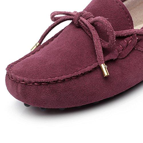 Generic Womens Flat Heel Casual Moccasins Suede Loafers&Slip-Ons Burgundy HdUJf