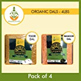 Shastha Organic Dal (Combo Pack of 4) Toor & Masoor Dal (USDA Certified Organic) Each Pkt 4 Lbs