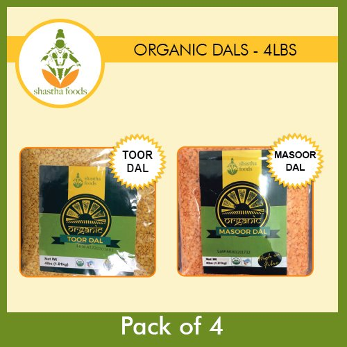 Shastha Organic Dal (Combo Pack of 4) Toor & Masoor Dal (USDA Certified Organic) Each Pkt 4 Lbs by Shastha Foods