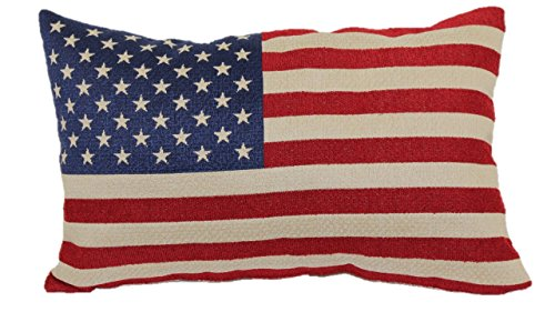 8377 American Flag Tapestry Toss Pillow, 13-Inch ()