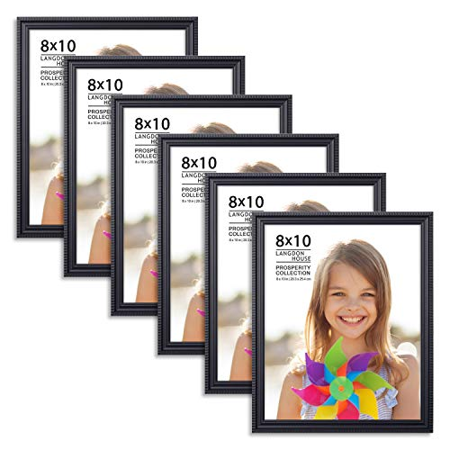 Langdons 8x10 Picture Frames (6 Pack, Black) Black Picture Frame Set, Wall Mount or Table Top, Set of 6 Prosperity Collection