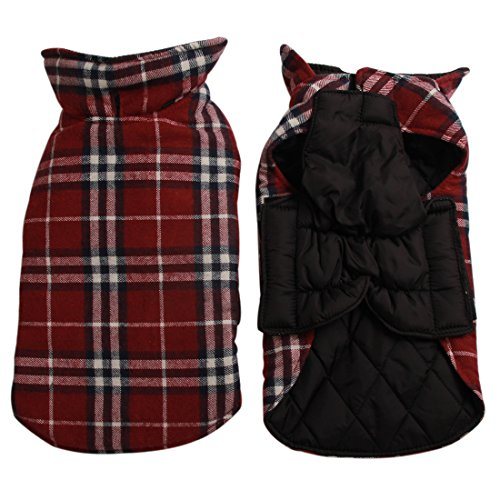 JoyDaog Reversible Plaid Dog Coat(7 Sizes)Waterproof Windproof Warm - Cold Weather Coats For Dogs