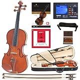 Cecilio DA_1/2CVN-200+SR+92D+FB1 Solidwood Violin with D'Addario Prelude Strings, Size 1/2