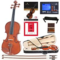 Cecilio CVN-200 Solidwood Violin with D'Addario Prelude Strings, Size 4/4 (Full Size)