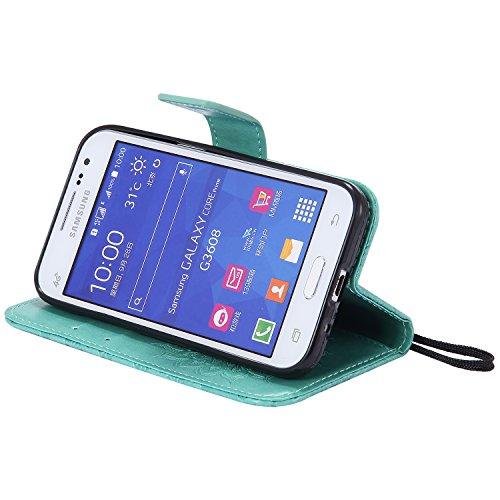 Funda Core Prime, SsHhUu Funda PU Piel Genuino Carcasa en Folio [Sun Flower] [Ranuras para Tarjetas] [Cierre Magnetico] con Lápiz óptico + Acollador para Samsung Galaxy Core Prime G360 (4.5) Púrpura Verde