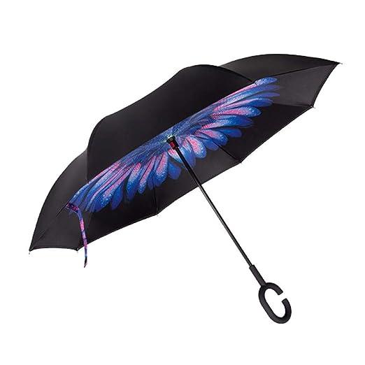 Ganmaov Paraguas Inverso Invertido Mango Forma Soleado al Agua de ...