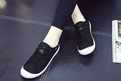 Jiye Femmes Toile Lacets Chaussures De Marche Mode Sneakers Noir