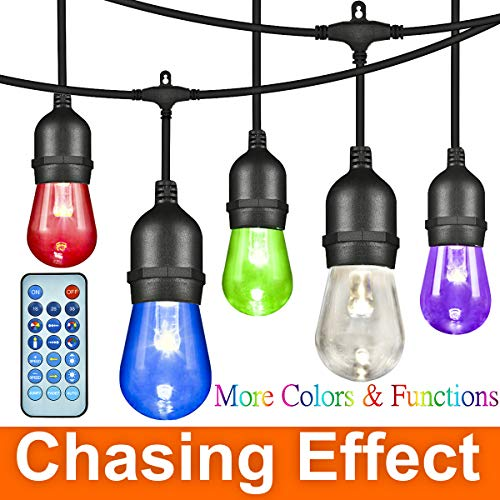 (ANGROC 49Ft LED Outdoor RGBW Color Changing Chasing String Light, 26(24+2Free) Edison Vintage Bulb, Wireless Remote Control, Heavy-Duty Commercial Grade, Waterproof, Patio Lighting for Garden Backyard)