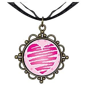 Chicforest Bronze Retro Style Heart Scribble Round Flower Pendant