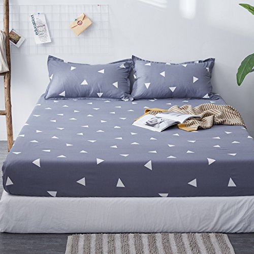 Fitted Sheet Bedsheet Plus Two Pillowcases Used for Bedding Duvet Cover Set Microfiber MJ Twin Full Single Double Bed Fresh Flower Print Design for Kids 3pcs (Triangle, Grey, Twin 47''x79'') by KFZ