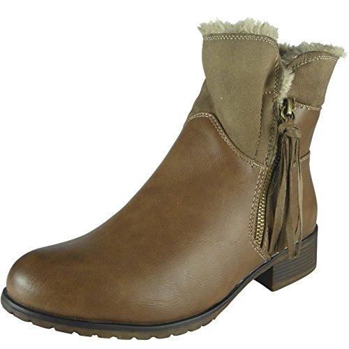 Womens Ladies Fur Lining Zip Low Heel Office Work Biker Ankle Boots Shoes Size 3-8 Khaki N6VYLb