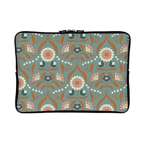 DKISEE Abstract Drawing Room Blooms On Blue Neoprene Laptop