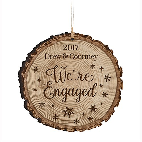 Personalized Engagement Christmas Ornaments (Personalized Newly Engaged Couple Our First Christmas Holiday Gift Ornament 2017 Custom Engagement gift ideas for couple him her by DaySpring International (We're engaged))