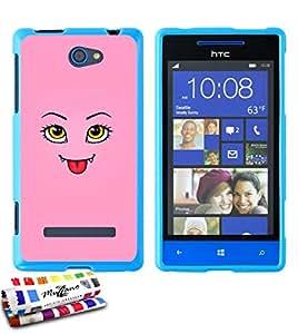 Carcasa Flexible Ultra-Slim HTC 8S de exclusivo motivo [Linda monstruo rosado] [Azul] de MUZZANO  + ESTILETE y PAÑO MUZZANO REGALADOS - La Protección Antigolpes ULTIMA, ELEGANTE Y DURADERA para su HTC 8S