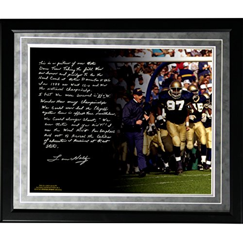 NCAA Notre Dame Fighting Irish Lou Holtz Facsimile 'College Football Playoffs' Story Metallic Framed 16x20-Inch Photo by Steiner Sports