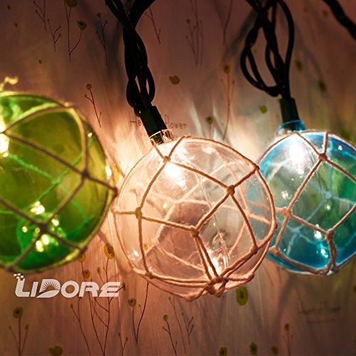 Blue Nautical String Lights : LIDORE Set of 10 Nautical Fishing Floats Coastal Buoy Beach Style String Lights Set. Warm White ...