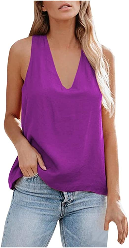 Aniywn Women's Cross Back Tank Tops Loose Solid V-Neck Camisole Shirt Casual Sleeveless Vest Shirts Blouses