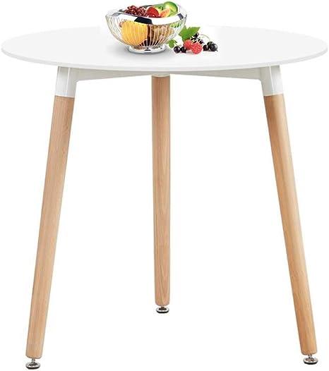 Imagen deH.J WeDoo Cocina Mesa de Comedor, Moderno Ronda Mesa y Patas de Madera de Haya, 80 * 80 * 72 cm, Color Blanco