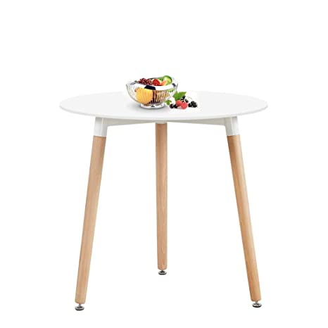 HJ WeDoo Cocina Mesa de Comedor, Moderno Ronda Mesa y Patas de Madera de Haya, 80 * 80 * 72 cm, Color Blanco
