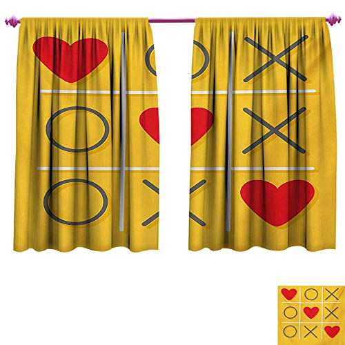 Love Waterproof Window Curtain Tic-Tac-Toe Game with XOXO Design Let Me Kiss You Valentines Romantic Illustration Waterproof Window Curtain W55 x L72 Yellow Red