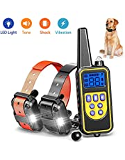 igingko Shock Collar for Dogs, Rechargeable Dog Barking Control Devices with 4 Training Modes, LED Light, Beep, Vibration and Shock, IPX7 Waterproof Bark Collars, 2600ft Remote Range, 3 Dog E-Collar