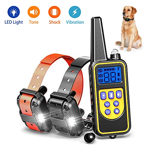 igingko Dog Training Collar with Remote 2600ft, IPX7 Waterproof Rechargeable Shock Collar for Small, Medium, Large 2 Dogs - Built-in 4 Modes, LED Light, Beep, Vibration, Shock (Shock Collar To Keep Dog Off Couch)