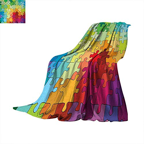Abstract Digital Printing Blanket Colorful Puzzle Pieces Fractal Children Hobby Activity Leisure Toys Cartoon Image Summer Quilt Comforter 62