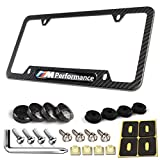 License Plate Frame Carbon Fiber-1 Pack Black Aluminum License Plate Frames Metal Printing Carbon Fiber Pattern, M Performance 3D Logo for MW and Stainless Steel Plate Screws & Carbon Caps