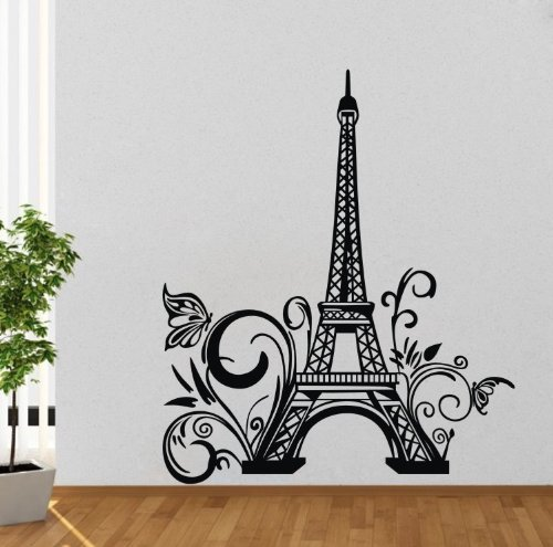 Olivia huge eiffel tower paris city france wall decals for Eiffel tower wall mural black and white
