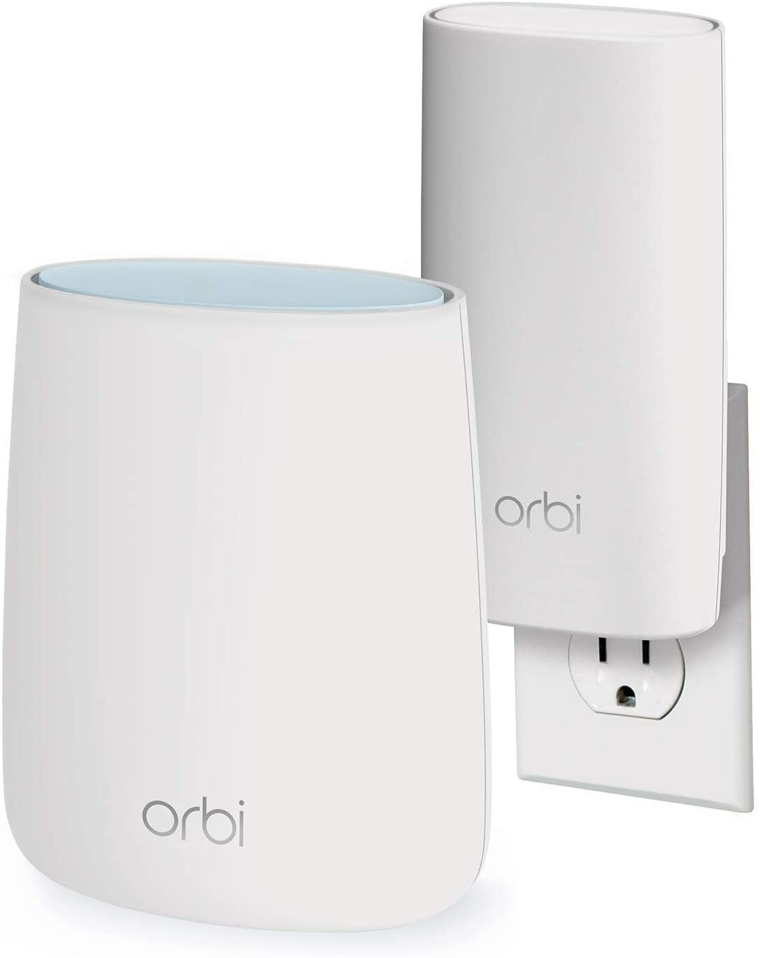 NETGEAR Orbi Compact Wall-Plug Whole Home Mesh WiFi System - WiFi Router and Wall-Plug Satellite Extender with speeds up to 2.2 Gbps Over 3,500 sq. feet, AC2200 (RBK20W)