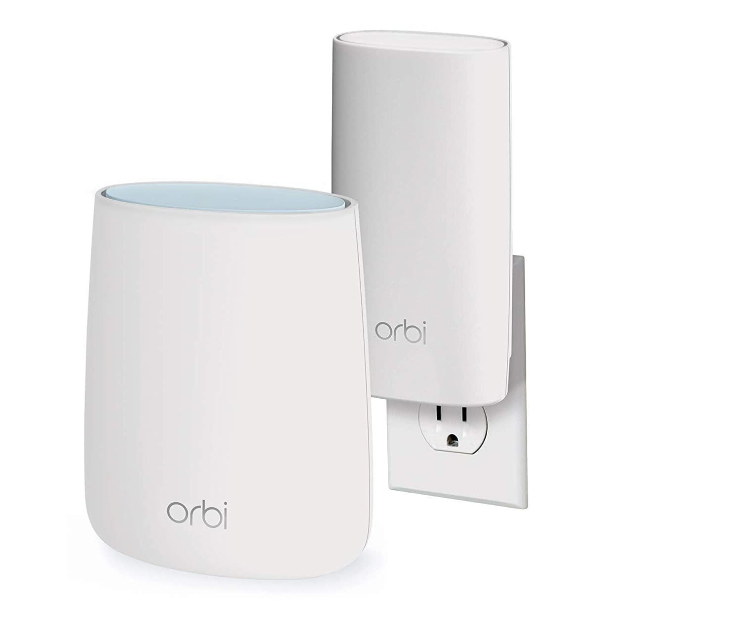 NETGEAR Orbi Compact Wall-Plug Whole Home Mesh WiFi System - WiFi Router  and Wall-Plug Satellite Extender with speeds up to 2 2 Gbps Over 3,500 sq