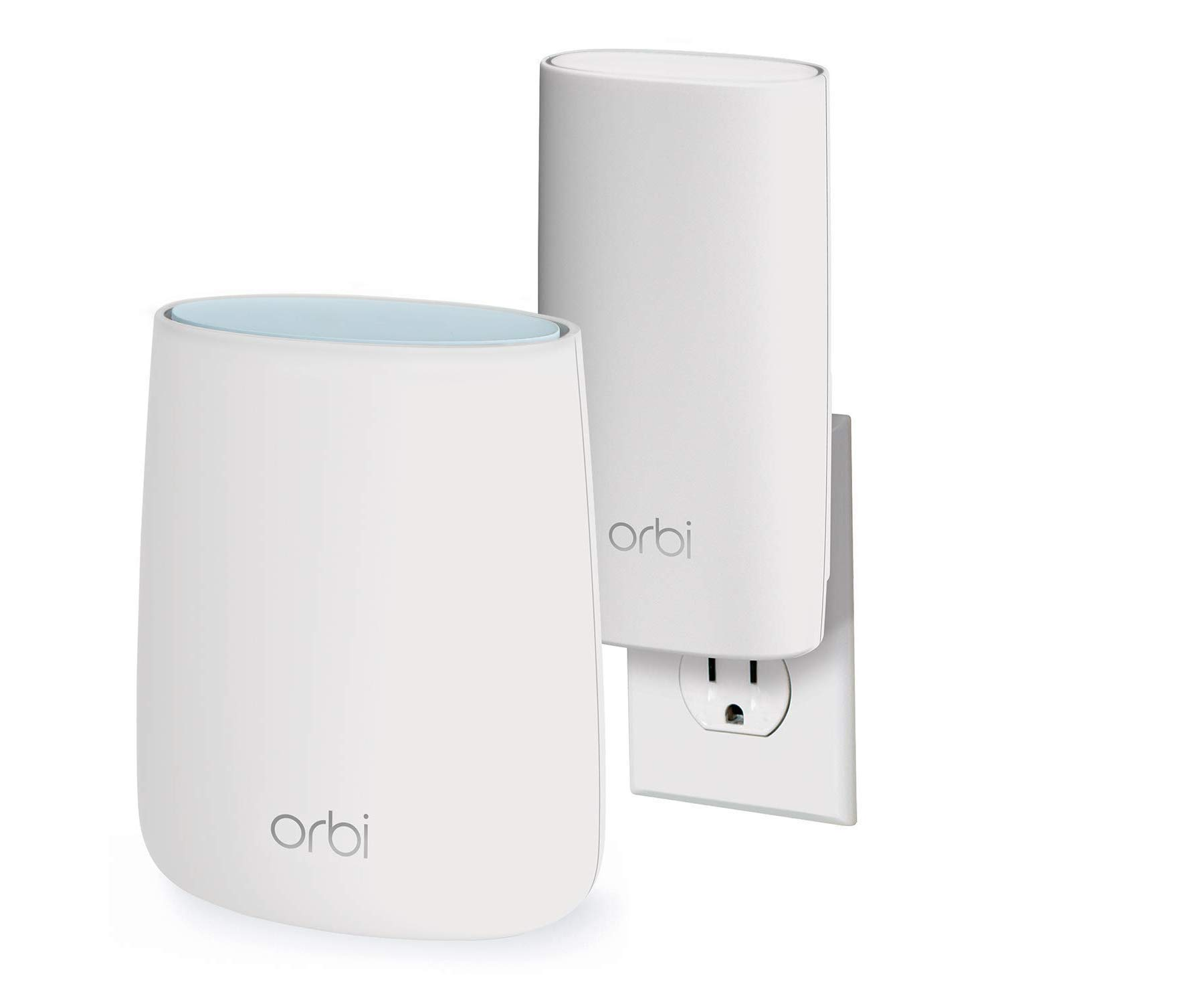 NETGEAR Orbi Compact Wall-Plug Whole Home Mesh WiFi System - WiFi Router and Wall-Plug Satellite Extender with speeds up to 2.2 Gbps Over 3,500 sq. feet, AC2200 (RBK20W) by NETGEAR