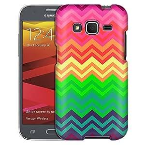 Samsung Galaxy Prevail LTE Case, Slim Fit Snap On Cover by Trek Neon Chevron Rainbow Case