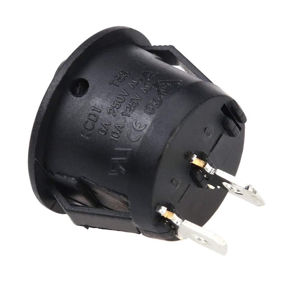 Schwarz Runde Wippschalter 2 Position Mini Boot Runde Schalter Auto Dash Licht ON//Off 10A 125 V 6A 250 V 5 STK
