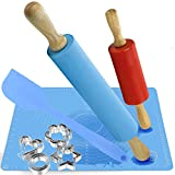 Family Rolling Pin set:2pcs Rolling Pin and Silicone Baking Mat With Measurements, Dough Rollers and 12pc Stainless Steel Cookie Cutters for Baking