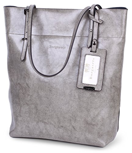 - Borgasets Womens Leather Tote Bag Shoulder Bags Handbags Purse for Ladies (Grey)