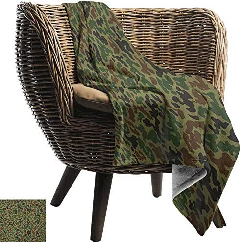 Josepsh Camo, Throw Blanket,Summer Camouflage Pattern Grungy Texture Hidden in Jungle Retro Style Print 70