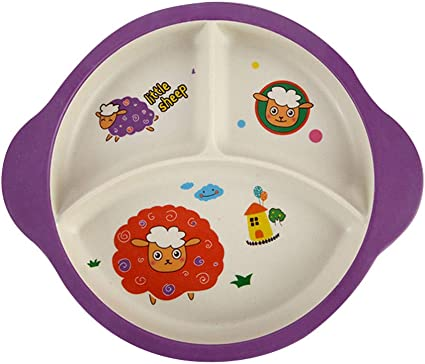 Baby Plate Childrens Cutlery Set Reusable Indestructible Cartoon Child Safety Wheat Plate