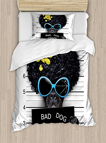 Ambesonne Funny Duvet Cover Set Twin Size, Mug Shot of Hippie Wanted Dog Criminal Puppy Afro Boxer Gangster Prison Humor Theme, Decorative 2 Piece Bedding Set with 1 Pillow Sham, Black Yellow (Twin Set Mug)