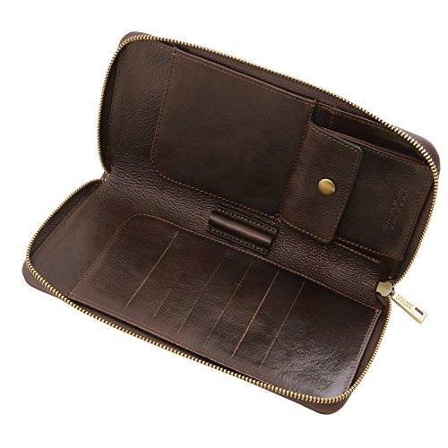 Tuscany Leather Exklusives Reiseetui aus Leder Honig Dunkelbraun Q09pMt