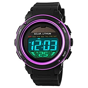 51iilpOBUYL. SS300  - Mastop Women Solar Power Watch Girls Boys LED Sport Watches Digital Waterproof Wrist Watch Purple