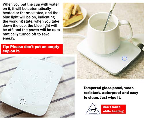 Mug Warmer For Desk Auto Shut Off Beverage Warmer-(Up to 131F℉/55℃)-Heater Surface for Home Office Coffee Shop Use (Tea,Water,Cocoa,Soup or Milk), coffee mug warmer beverage warmer by OneBuyOne (Image #3)
