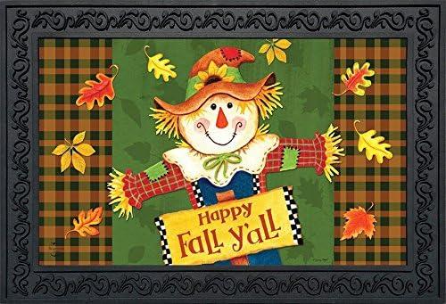 Briarwood Lane Fall Y all Scarecrow Primitive Doormat Autumn Indoor Outdoor 18 x 30