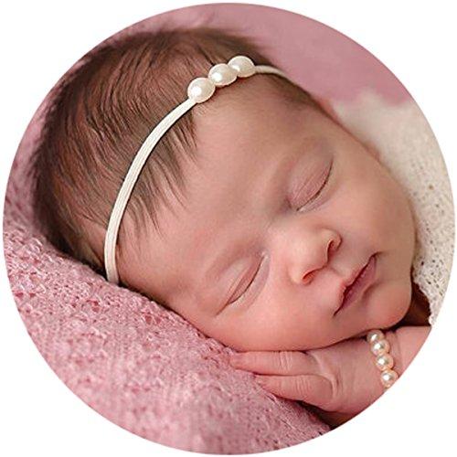 Miugle Newborn Elastic Headbands Pearls