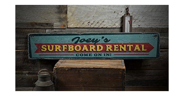 Tabla de surf alquiler Letrero De Madera, De Come personalizada en flecha Businesss nombre decoración, playa regalo - rústico hecho a mano Vintage Cartel De ...