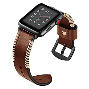 Apple Watch Band for Men, Ocyclone Apple Watch Band Leather Hand Made with Genuine Leather for 38mm iWatch Series 3/ Series 2/ Series 1, Nike+ - Dark Brown
